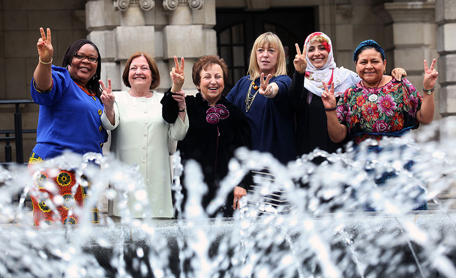 Women of the Nobel Women's Initiative (from left): Leymah Gbowee, Mairead Maguire, Shirin Ebadi, Jody Williams, Tawakkol Karman and Rigoberta Menchú Tum.