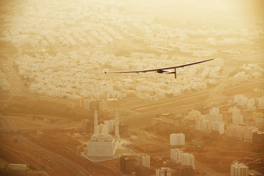 Muscat, Oman, March 10, 2015: Swiss explorers Bertrand Piccard and AndrÈ Borschberg launch their attempt at flying Round-The-World in a solar-powered airplane. Their experimental aircraft, Solar Impulse 2 took-off from Abu Dhabi (UAE) with AndrÈ Borschberg at the controls direction Muscat (Oman) where the plane made a pit stop of several hours in order to change pilot before continuing its route towards Ahmedabad (India) with Bertrand Piccard at the controls. The First Round-the-World Solar Flight will take 500 flight hours and cover 35í000 km, taking five months to complete. Swiss founders and pilots, hope to demonstrate how pioneering spirit, innovation and clean technologies can change the world. The duo will take turns flying Solar Impulse 2, changing at each stop and will fly over the Arabian Sea, to India, to Myanmar, to China, across the Pacific Ocean, to the United States, over the Atlantic Ocean to Southern Europe or Northern Africa before finishing the journey by returning to the initial departure point. Landings will be made every few days to switch pilots and organize public events for governments, schools and universities.