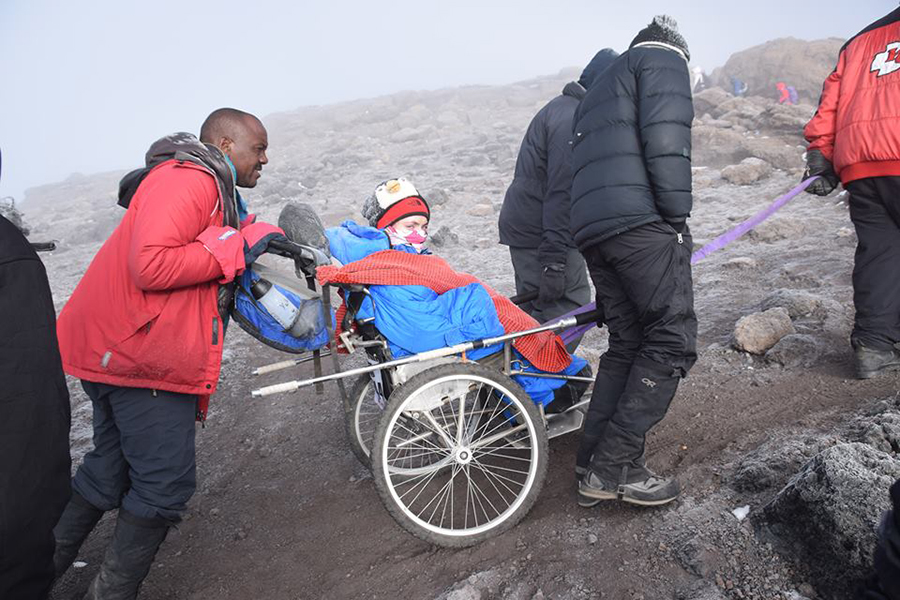 Mycroft on Kilimanjaro with her climbing partners and helpers.