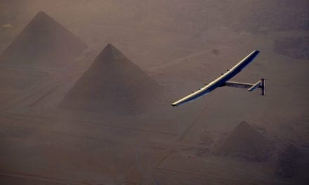 Round-the-World Solar Plane Lands Among the Pyramids
