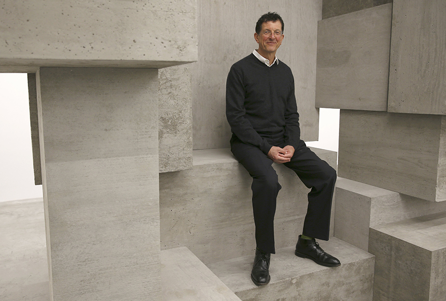 "Artist Antony Gormley poses for a photograph with one of his pieces called ""Block"", forming part of an exhibition entitled ""Fit"", at the White Cube gallery in London, Britain September 29, 2016.   REUTERS/Peter Nicholls"