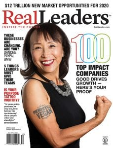 2020 Winner Miyoko's: An American food producer revolutionizing the dairy industry by combining proprietary technology with age-old creamery methods to craft cheese and butter from plants. Miyoko Schinner was featured as the cover star of the 2020 Real Leaders Impact Awards Magazine.