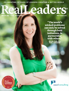 2021 Winner Pearl Consulting: A purpose-driven boutique consultancy focused on delivering mutual benefit for corporate, nonprofit and government partners through the strategic deployment of social impact initiatives. Pearl Consulting CEO, Gillian Pearl was featured on a cover for the 2021 Real Leaders Impact Awards.